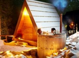 eco-chalet avec baignoire