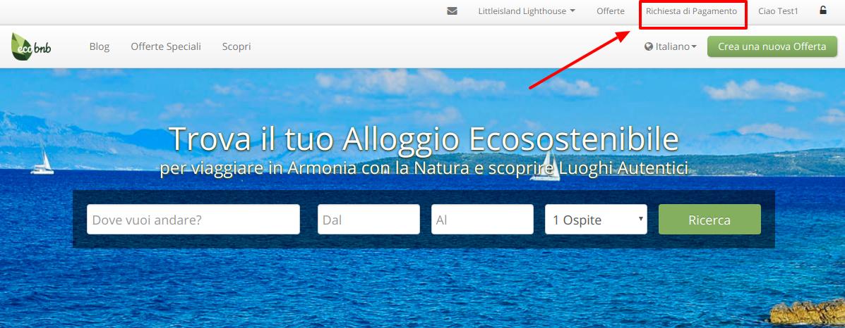 """Ecobnb Homepage, après la connexion, en haut à droite du menu, vous trouverez le bouton """"Demande de paiement"""""""