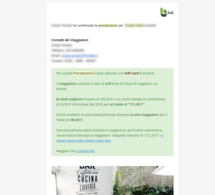 Exemple de message avec Green Box qui distingue la Réservation avec carte-cadeau (Gift-Card)