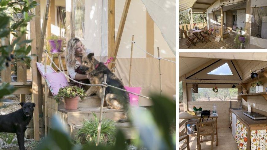 espaces intérieurs et extérieurs chez Ciriga Sicily Glamping