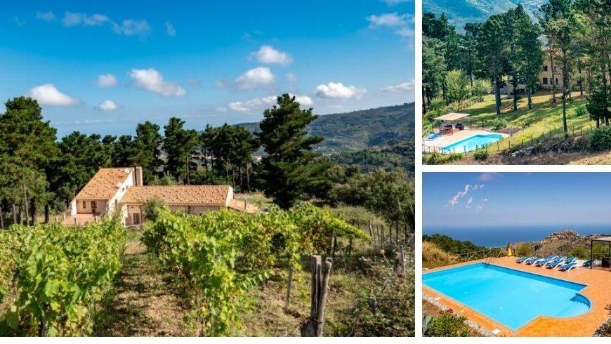 Paysage et piscine chez la Collina dei Nebrodi